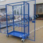 Металлические сетчатые контейнеры для склада на колесах