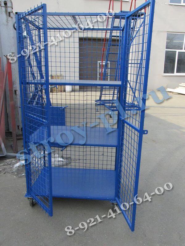 Шкафы сетчатые для склада на колесах