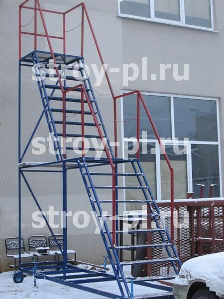 лестницы на колесах с двумя площадками купить