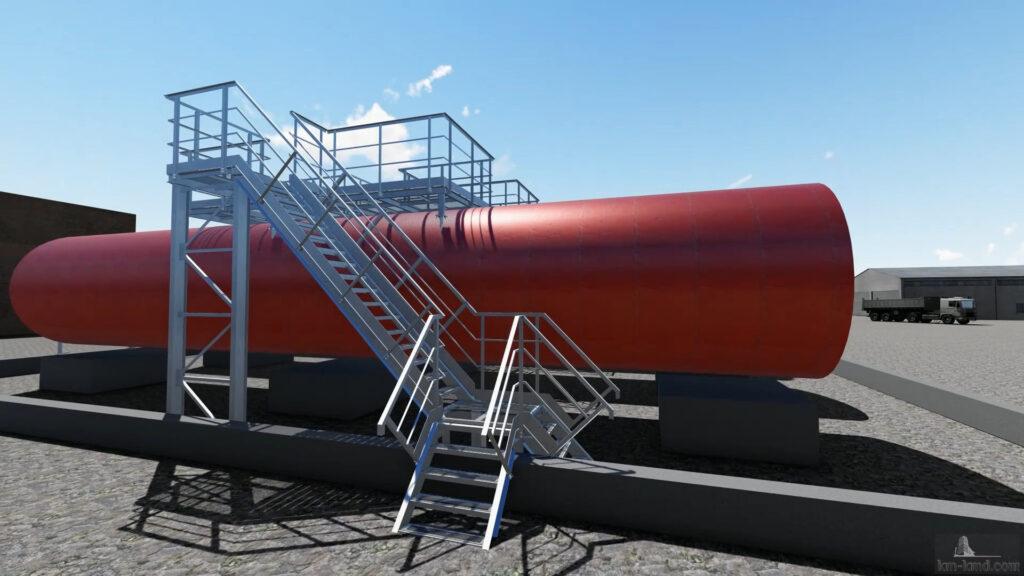 переходная площадка-мост для больших резервуаров